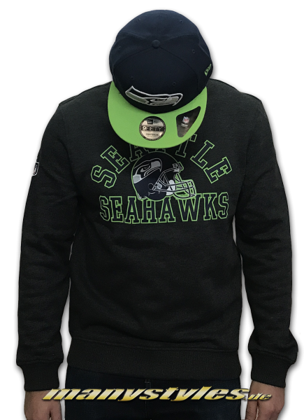 Seattle Seahawks NFL Team Script Crewneck Sweatshirt Sweater Navy Team Color von New Era