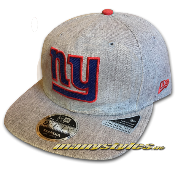 NY Giants 9FIFTY NFL Heathered Hype OF Original Fit Snapback Cap Original Official Team Color OTC von New Era