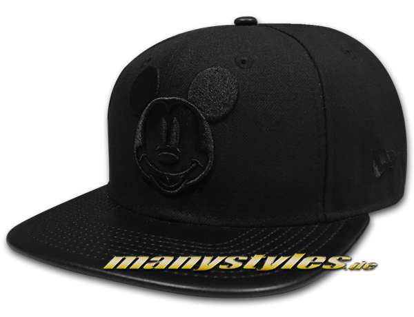 New Era Mickey Mouse 9FIFTY Disney Strapback Character Tone Snapback Cap PU Leather Visor Black on Black