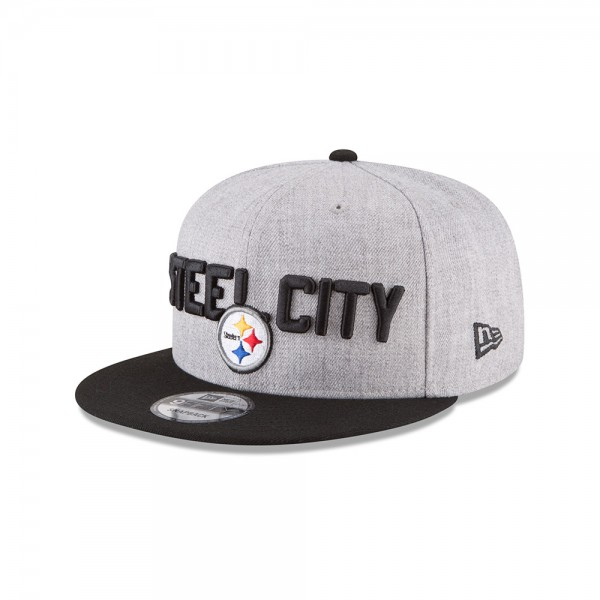 Pittsburgh Steelers NFL On Stage Draft 9FIFTTY Snapback Cap Steel City Heather Black von New Era