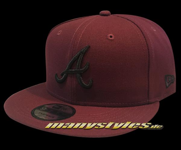 Atlanta Braves MLB League Essential Snapback Cap Maroon Red Black von New Era