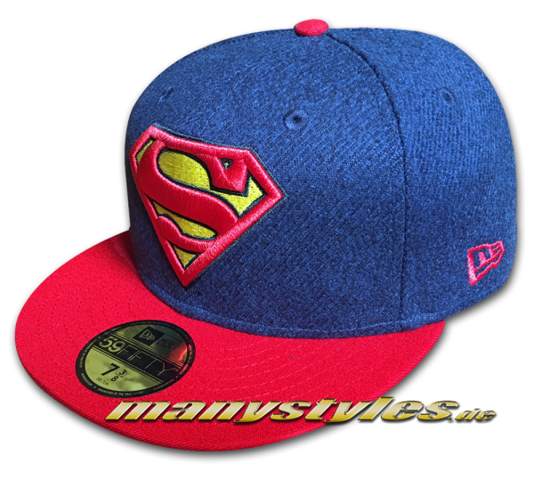 Superman DC Comic 9FIFTY Fitted Cap Melton Crsp Navy Red Yellow OTC von New Era