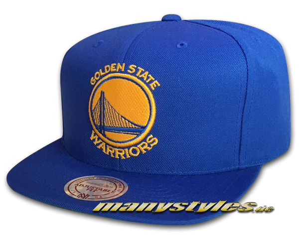 Golden State Warriors NBA Basic Wool Solid Snapback Cap Royal Yellow Team Color von Mitchell and Ness rückseite snapbackverschluss