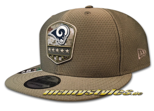 Los Angeles Rams 9FIFTY NFL On Field 19 STS 950 Snapback Cap Olive Salute to Service 2019 von New Era