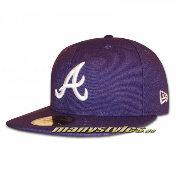 Atlanta Braves 59FIFTY MLB Basic Cap Purple White