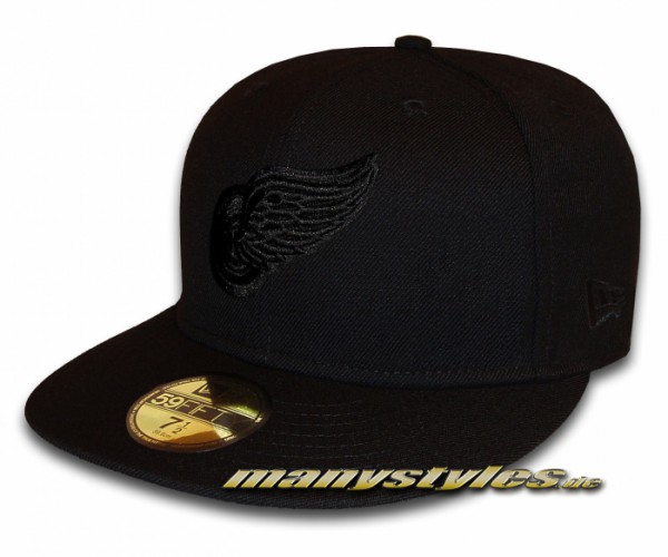 Detroit Red Wings 59FIFTY NHL Black on Black Cap exclusive