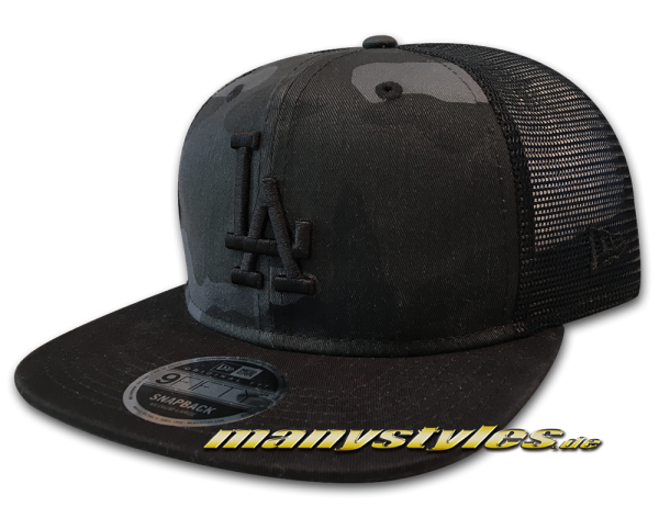New Era LA Dodgers MLB 9FIFTY OF Snapback Cap Washed Camo Snap Graphite Charcoal Woodland Camouflage Black