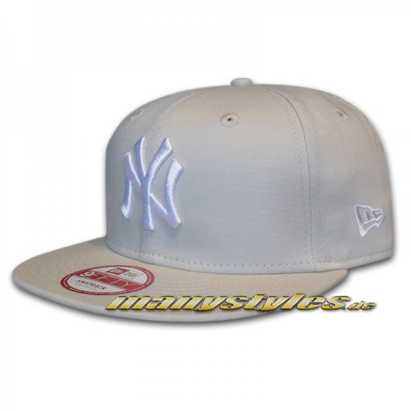 NY Yankees 9FIFTY MLB League Essential Grey White Snapback Cap