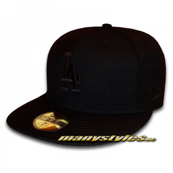 LA DODGERS 59FIFTY MLB Black on Black Cap