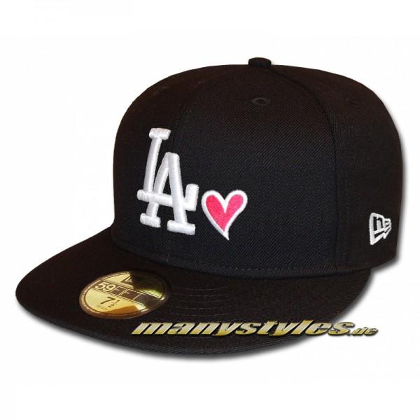 LA DODGERS New Era LA Love Hearted Cap exclusive Black White Strawberry 59FIFTY Fitted Caps
