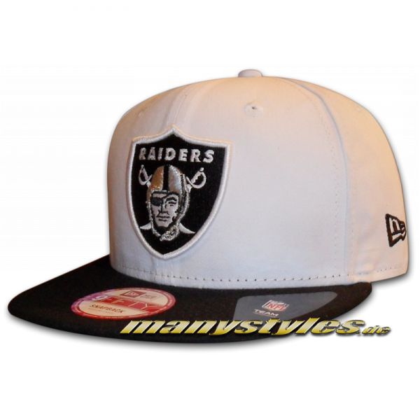Oakland Raiders NFL Jersey Team Snap 9FIFTY Snapback Cap White Black