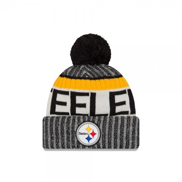 Pittsburgh Steelers NFL Sideline 2017 Bobble Beenie Grey Black Yellow OTC von New Era a  frontside
