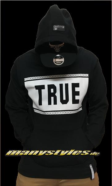 TRUE Extra Long Basic Hooded Black White