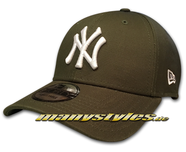 NY Yankees 9FORTY MLB The League Essentials Curved Visor Adjustable Cap Rifle Green White von New era