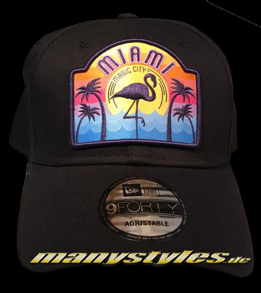 Miami Curved Visor 9FORTY Adjustable Cap Black Multi Colored von New Era