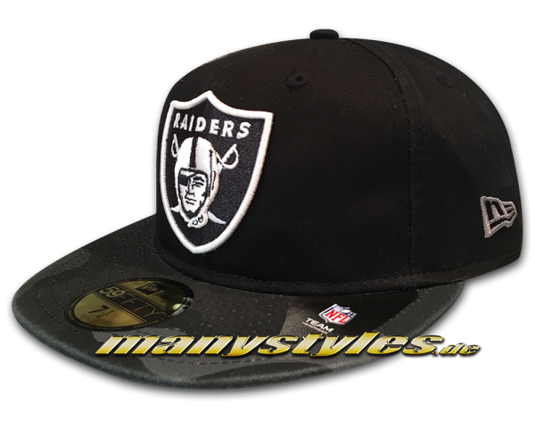 New Era Oakland Raiders NFL 59FIFTY Cap Washed Camo Black Graphite White OTC Original Team Color