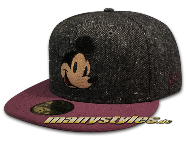 Disney Comic 59FIFTY Mickey Mouse Cap Character Tweed Graphite Grey Maroon Red  von New Era