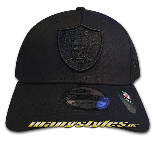 Las Vegas Raiders NFL 39THIRTY Curved Visor Cap Stretch Flex Fit Black on Black von New Era