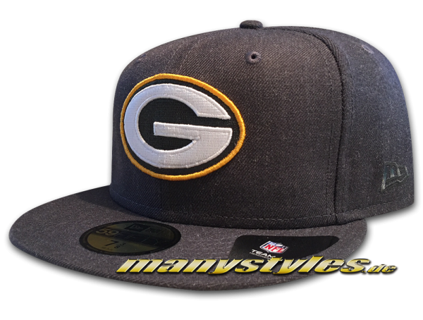 Greenbay Packers 59FIFTY NFL Heather Essential Cap Graphite Heather Dark Original Official Team Color OTC von New Era