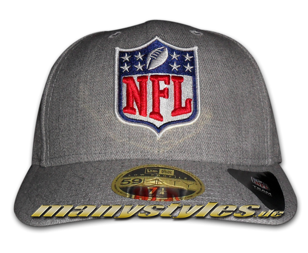 NFL League Logo LP Low Profile Cap Curved Visor Heather Grey Chambrak TC von New Era