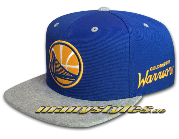 Golden State Warriors NBA Royal Jersey Heather Snapback Cap Royal Yellow Team Color von Michell and Ness