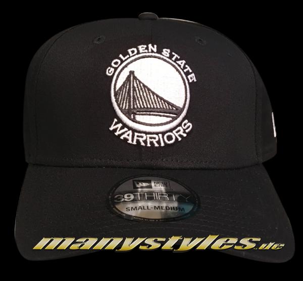 757d3baf8fa Golden State Warriors NBA 39THIRTY Cuved Visor Strech Flex Fit Cap Black  White Monochrome von New