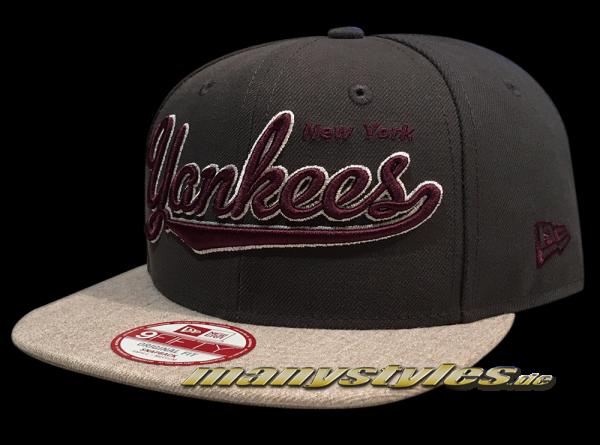 NY Yankees MLB 9FIFTY Original Fit Snapback Cap Vintage Script Graphite Heather Grey Maroon Red White von New Era