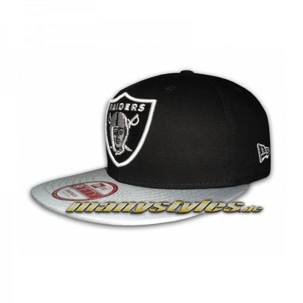 67b4528c8cf NEW ERA NFL Cotton Block Oakland Raiders 9FIFTY Snapback Cap Grey ...