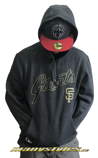 San Francisco Giants MLB Team Apparel Hooded Dark Charcoal Heather Grey Gold von New Era