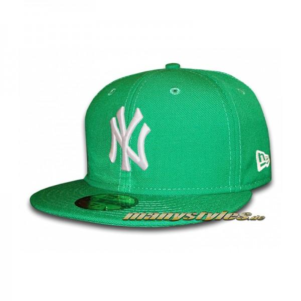 NY Yankees 59FIFTY MLB Basic Cap Kelly White - Green White