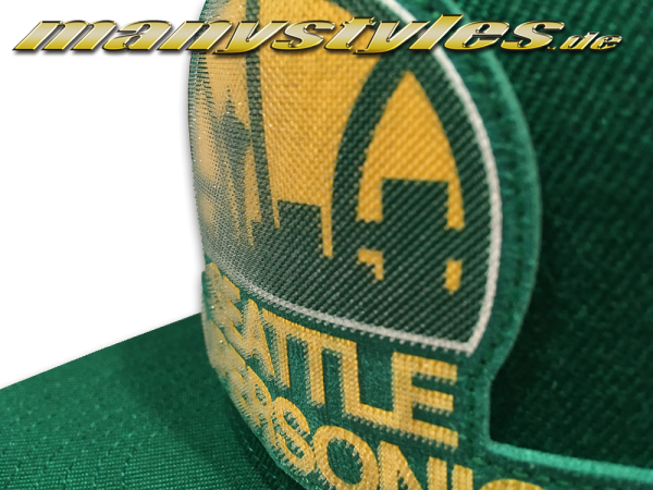 Seattle Supersonics NBA HWC Western Conference Snapback Cap Silicon Grass Green Team Color von Mitchell and Ness