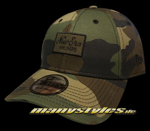 New Era NE Patch 9FORTY Curved Visor Adjustable Cap Woodland Camo Black