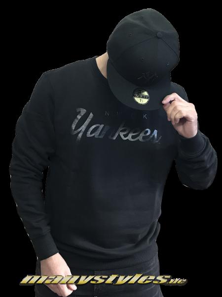 NY Yankees MLB Team Apparel Crew Black on Black Crewneck Sweatshirt von New Era