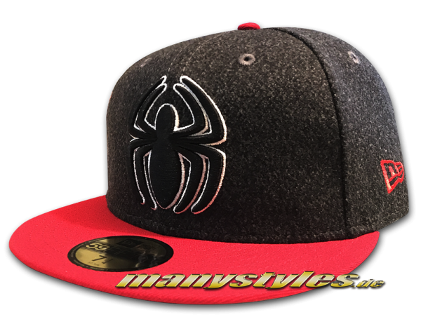 New Era Marvel Comics The Amazing Spiderman 59FIFTY Classic Trim Fit Cap Heather Charcoal Scarlet Red White OTC