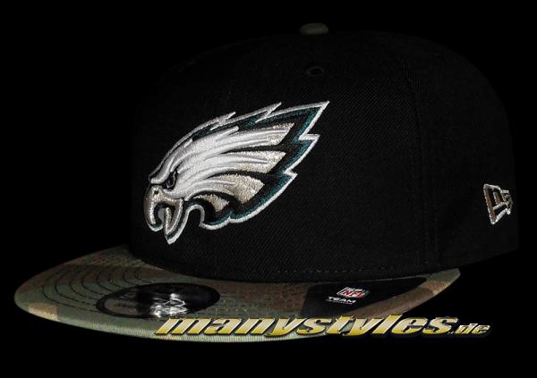 Philladelphia Eagles NFL Basic Camo exclusive Snapback Cap Black Woodland Camouflage von New Era