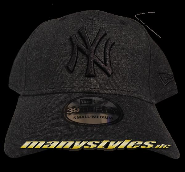NY Yankees MLB 39THIRTY Jersey Essential Curved Visor Stretch Fit Cap Graphite Heather Melange Black von New Era