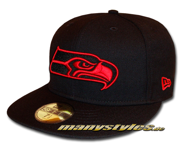 Seattle Seahawks 59FIFTY NFL exclusive Cap Black Scarlet Red