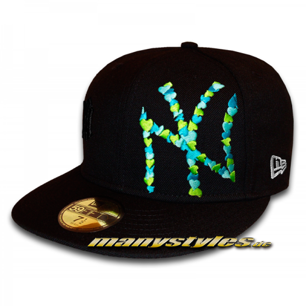 NY Yankees 59FIFTY MLB Special Flawless Big Logo Hearted Cap Black Green Vice Blue