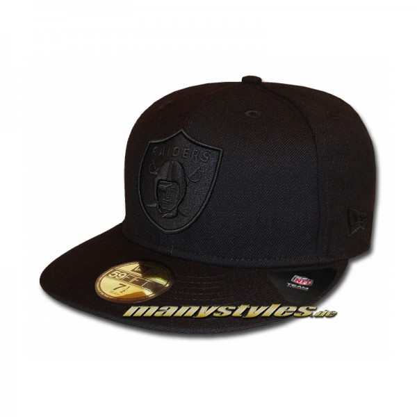 Oakland Raiders official 59FIFTY NFL Black on Black exclusive Cap
