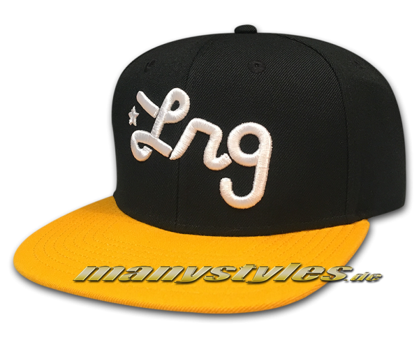 LRG Lifted Research Group LRG Script Snapback Hat Cap Black Yellow