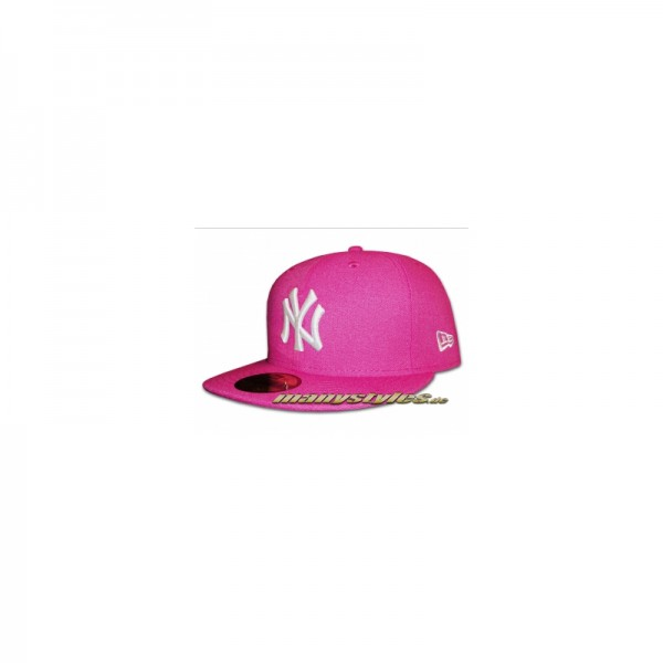 NY Yankees 59FIFTY MLB Basic Cap Beetroot White (Pink White)