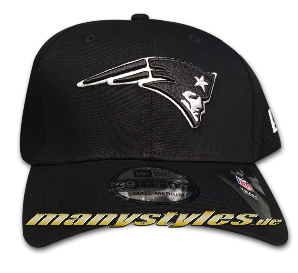 New England Patriots NFL 39THIRTY Cuved Visor Stretch Flex Fit Cap Monochrome von New Era
