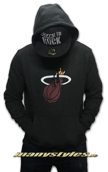 NBA Miami Heat Tip Off Hooded Sweatshirt Kapuzenpullover Pullover Dark Grey Red von New Era