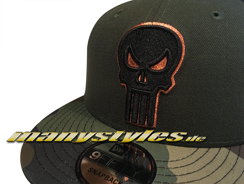 new styles a0fec 20723 ... Vorschau  Marvel Comics The Punisher 9FIFTY Dark Rifle Green Camo  exclusive Snapback Cap Woodland Camouflage
