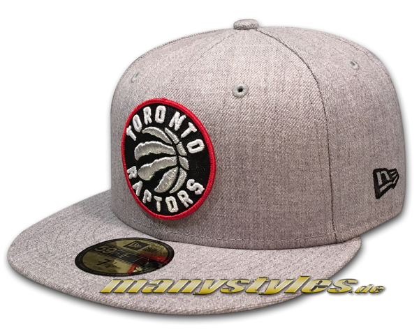 Toronto Raptors NBA Heather Team Fitted 59FIFTY Cap von New Era in Heather Grey OTC Original Team Color Logo frontside