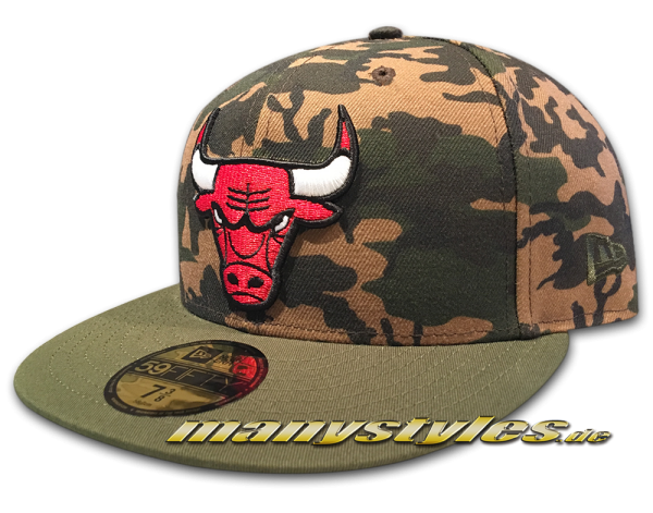 Chicago Bulls NBA 59FIFTY Camo Team Fitted Cap Mini Woodland Camouflage Original Team Color von New Era