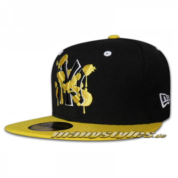 NY Yankees 59FIFTY MLB Deluxe Splatter Black White Yellow
