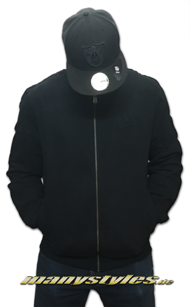 New Era Crafted Zip Varsity Jacket Black on Black