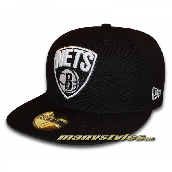 Brooklyn Nets 59FIFTY NBA Primary Cap Black White NBA Logo in Black White von New Era