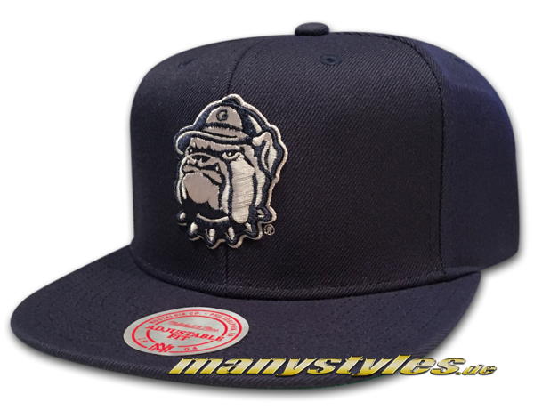 Georgetown Hoyas NCAA College Football Snapback Cap Wool Solid Basic Navy Grey Official Team Color von Mitchell and Ness